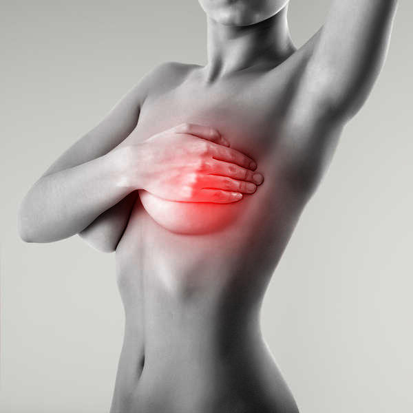 Pain on my right breast feels sore when moving but  when i touch my breast i feel nothing could it be breast cancer?