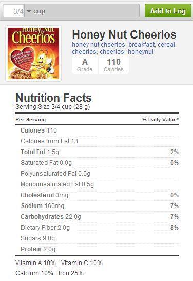 Calories for honey nut cheerios