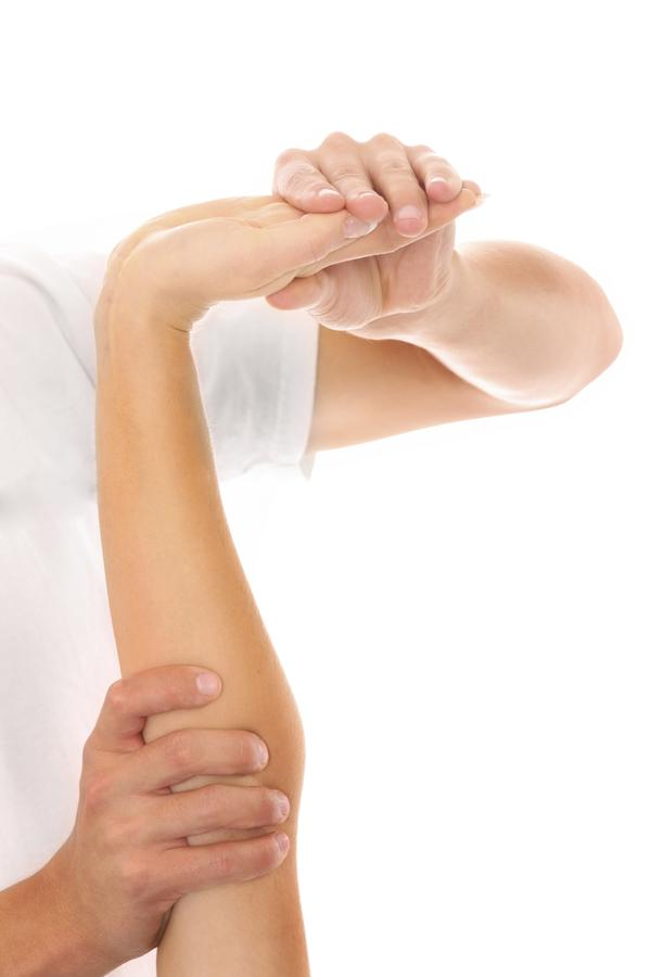 I have a pain in my elbow shooting to my wrist ? There is a small lump about one inch above my elbow towards the outside of my arm that is painful.