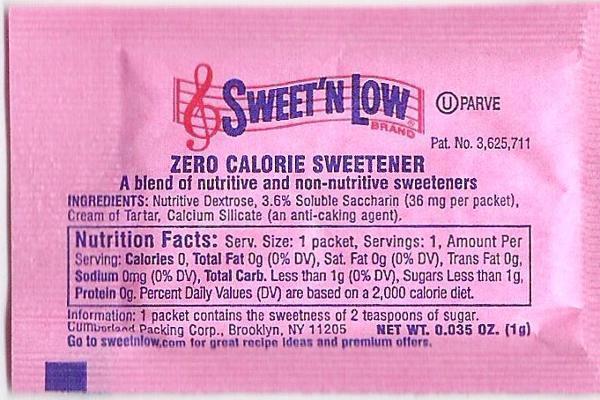 """Is """"sweet n low"""" 0 calories?"""