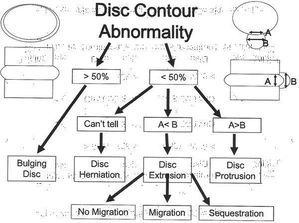 What is the difference between diffuse annular bulge, bulging disc, and central disc profusion?