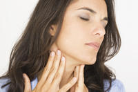 What is the procedure and cost for receiving an antibiotic for an adult with severe sore throat?