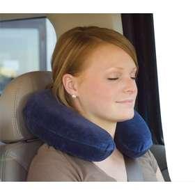 What is the proper way to use a neck pillow on a plane?