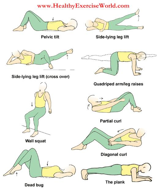 What types of exercises can help with back soreness, stiffness, or cramps?