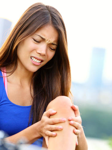 How can you treat a knee ligament pull?