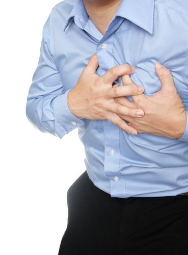 What is constricting chest pain?