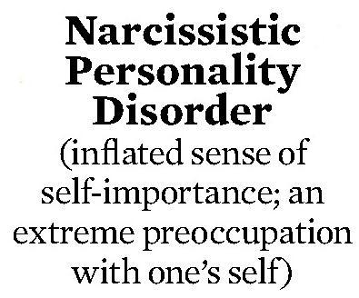 Signs of symptoms of hypersensitive narcissism or narcissism personality disorder?