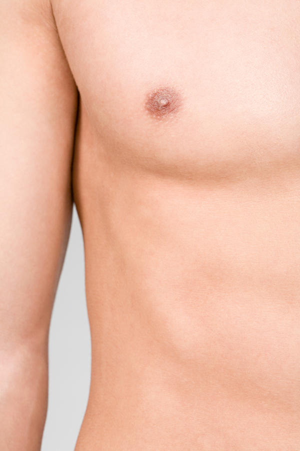 16 year son has gynecomastia for 2.5 years & it is only on 1 side & he says when he masturbates it seems like it  gets harder & bigger, is this true?