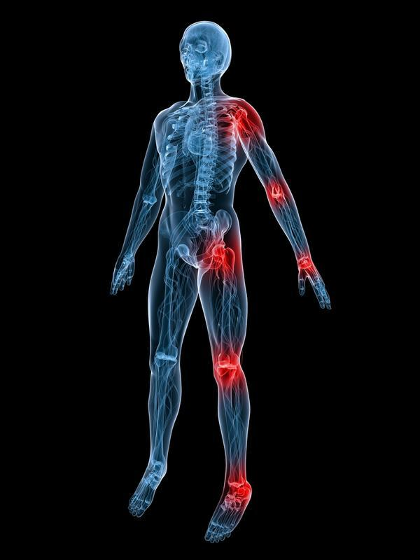 What causes loss of balance and subsequent shaking along with mild to severe joint pain?