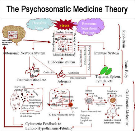 What is the definition or description of: psychosomatic?