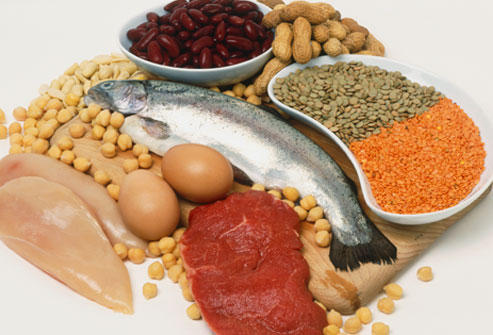 How many grams of protein is a healthy adult male supposed to intake everyday?