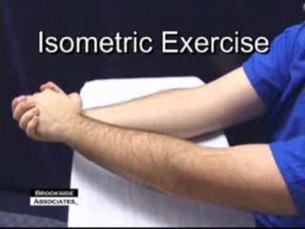 What is the definition or description of: isometric exercise?