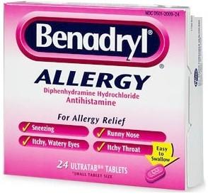 What is the definition or description of: Benadryl (diphenhydramine) allergy?