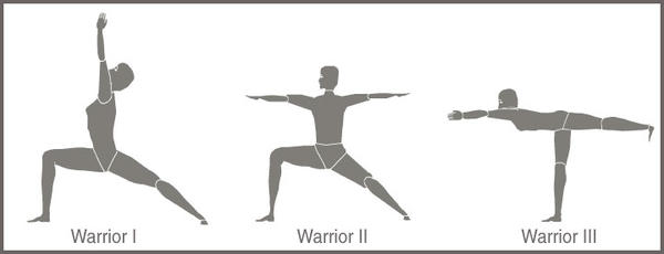 What muscle does the warrior pose work out?