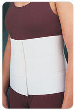 How does wearing an abdominal binder help resolve a seroma and a weak spot in the abdominal wall?