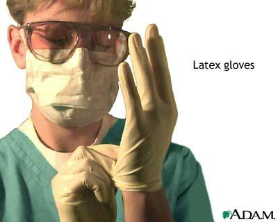 I had a reaction to rubber gloves with no known latex allergy. What could be wrong?