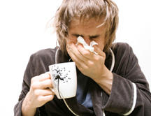 My husband is sick, coughing sneezing  all that, and when he blows his nose it bleeds. Whats the best remedies?