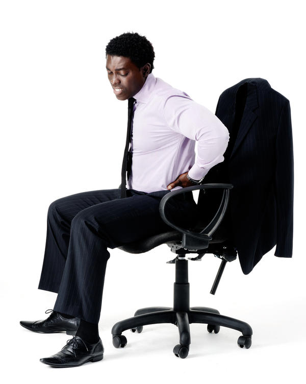 How does one correct a stiff neck caused by poor sitting postures?