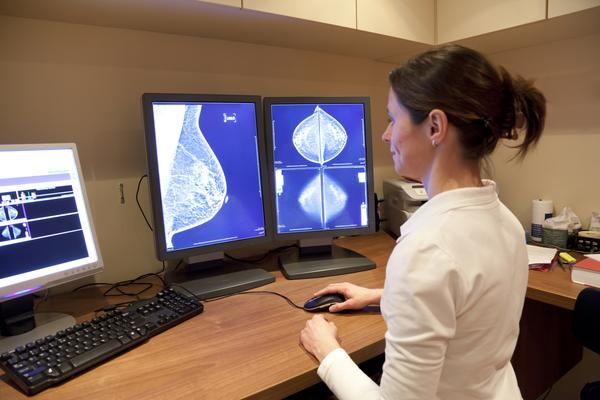 What does a shadow on a mammogram mean?