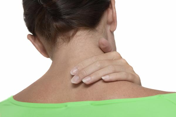 I have a stiff neck, like a spasm or pinched nerve over my left shoulder. Eating causes a shooting pain down my neck. How can I alleviate the pain?