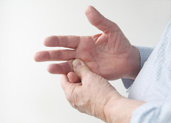 What do I do? Swelling around the left-hand small finger joint & pain at the base of thumb?
