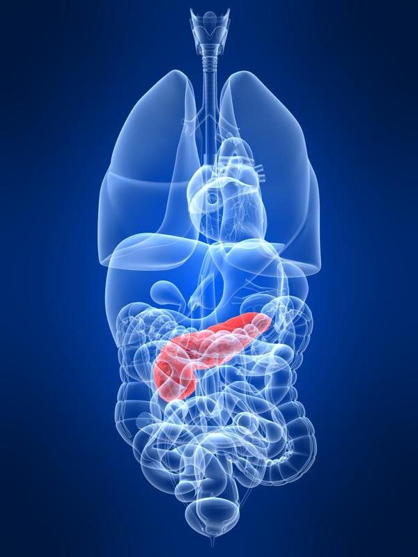 What causes an enlarged lymph node on the pancreas?