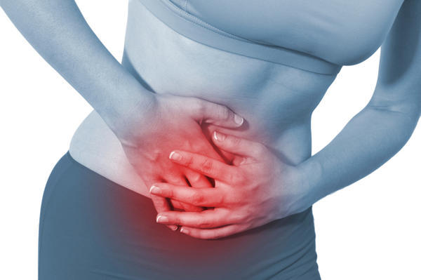 Abdominal pain, heavy period, fatigue, headache, hot sweats, chills, lower back pain
