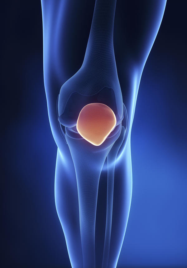 I get a very acute pain on the surface of my knee cap. I can feel a small object under the surface of the skin that tends to move around.