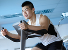 asian, bicycle, bike, cycling, equipment, exercise, fitness, gym, health, machine, male, man, smiling, sport, training, workout Exercise