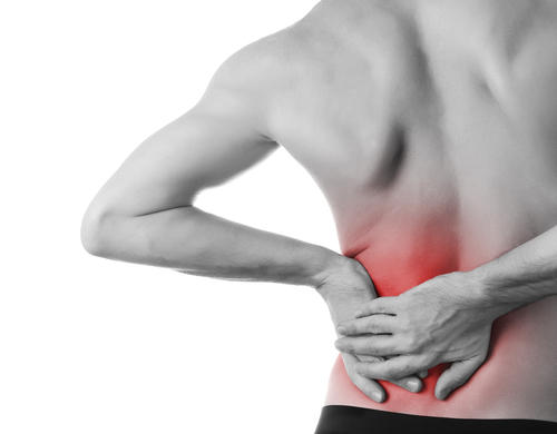 What can cause a sharp lower pain on the left side that has migrated to rear and thigh muscles?