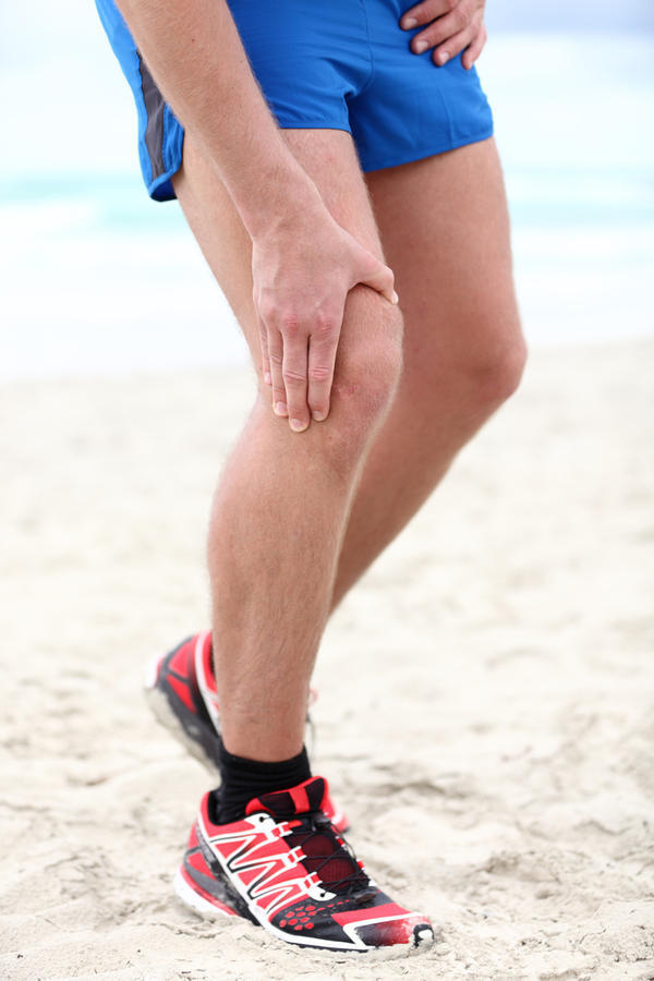 What's a good, non-medication based way to relieve knee pain from a torn meniscus?