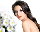 attractive, background, beautiful, beauty, bouquet, bunch, camomile, care, clean, face, female, flower, fresh, girl, gorgeous, horizontal, isolated, portrait, pretty, profile, sensuality, sexy, skin, spring, white, woman, young